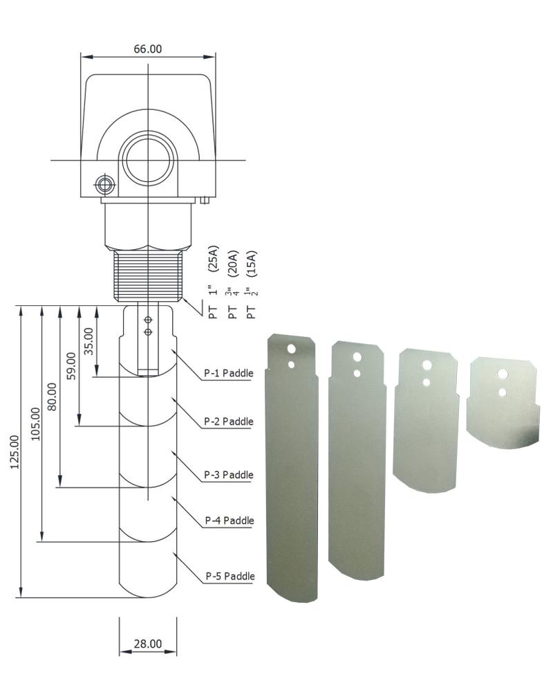 Thông số kích thước của công tắc báo dòng chảy