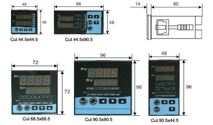 Các dạng kích thước bộ điều khiển nhiệt độ.