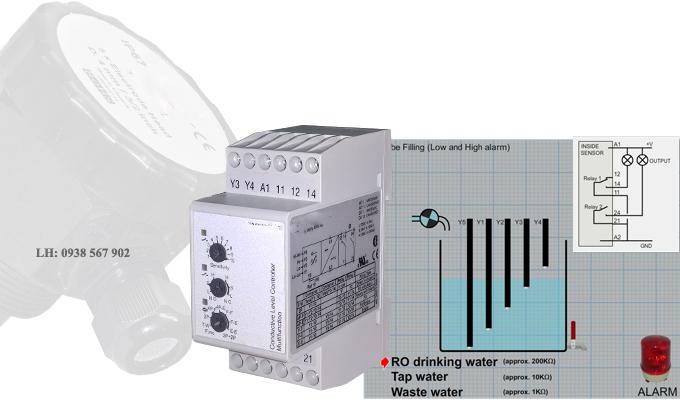 Chế độ điều khiển một bơm có cảnh báo mức cao và mức thấp