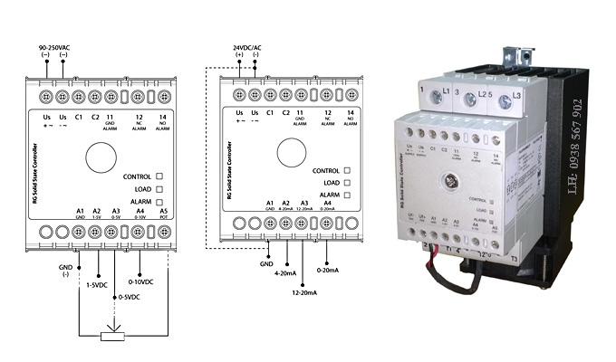 Relay bán dẫn, SSR 3 pha ngõ vào điều khiển 4-20mA và 0-10VDC.