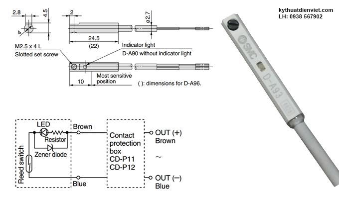Cảm biến từ xi lanh Sensor SMC D-A93