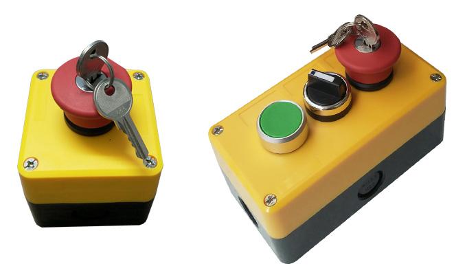 Nút nhấn khẩn chìa khóa với hộp kín nước.