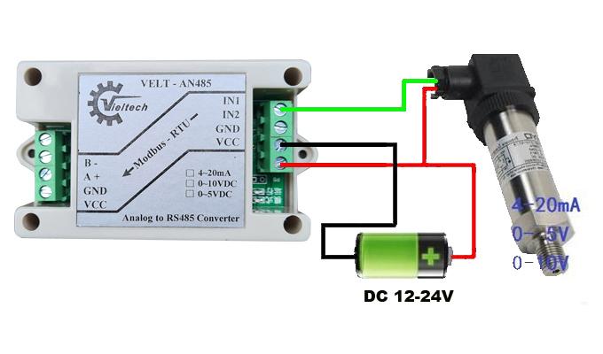 Sơ đồ kết nối nguồn và kết nối thiết bị với chuyển đổi RS485.